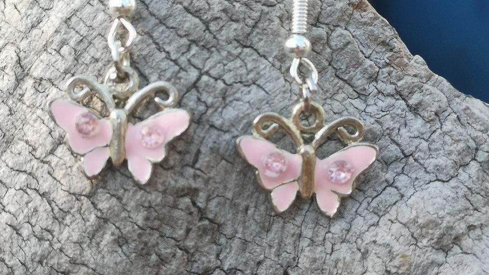 Pretty drop earrings with pink butterflies