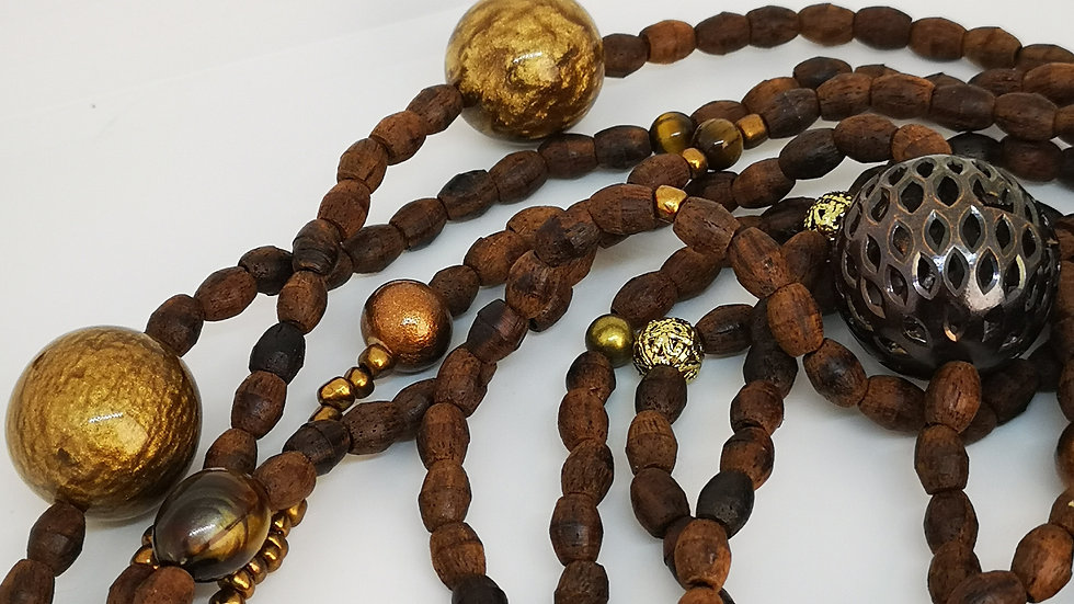 Long wrap around wooden beaded necklace.