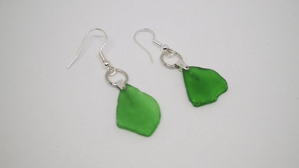 Green Seaglass Drop Earrings