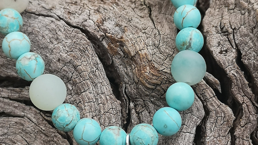 Beautiful Turquoise and Amonzonite beaded necklace with Latin Cross.