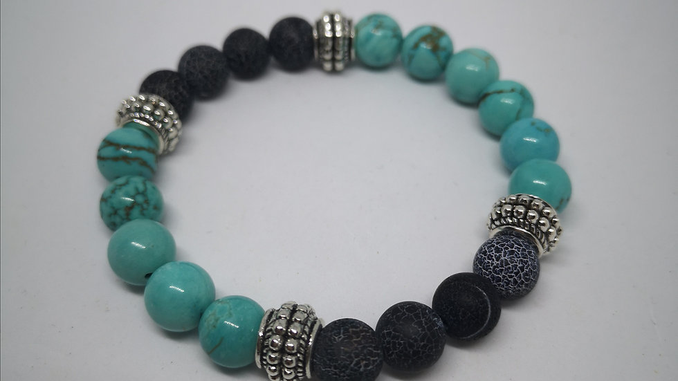 Natural Blue Turquoise and Frost Cracked Dream Fire Dragon Vein Agate bracelet.