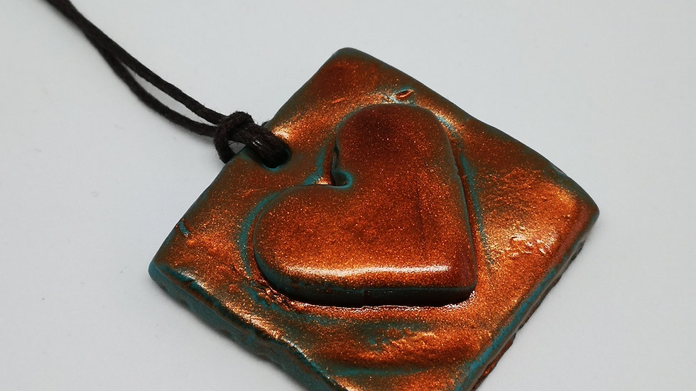 Bronze Coloured Clay Heart Necklace