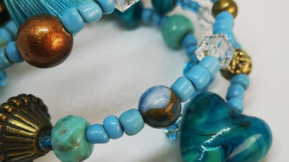 Boho turquoise, teal, brown and gold bangle/bracelet