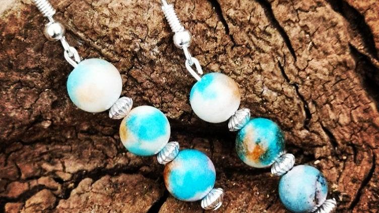 Malaysian jade handmade drop earrings.