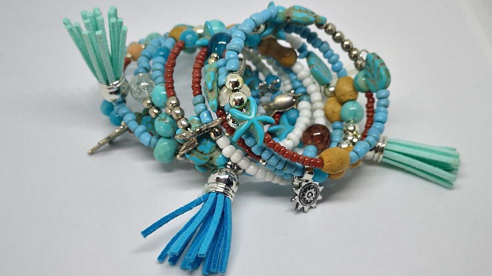 Boho bangle bracelet with turtles and starfish.