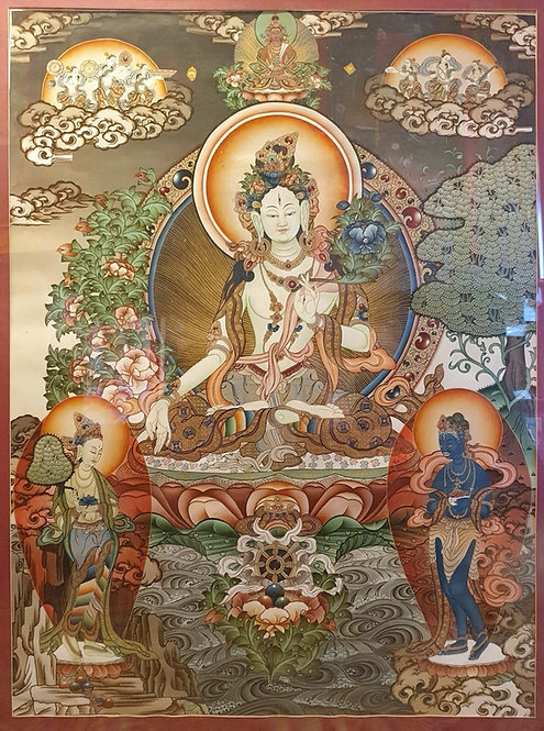 White Tara Thangka - Lama Painted