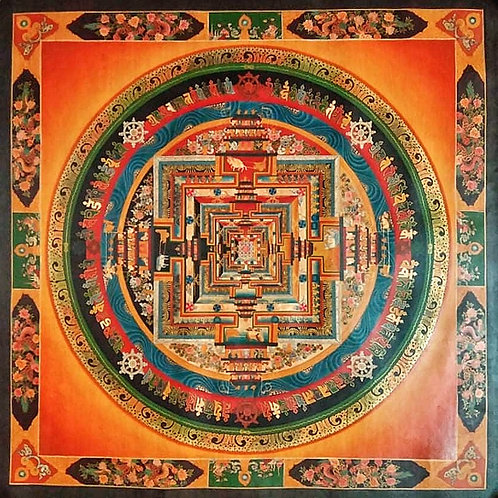 Antique Style Kalachakra Mandala Thangka