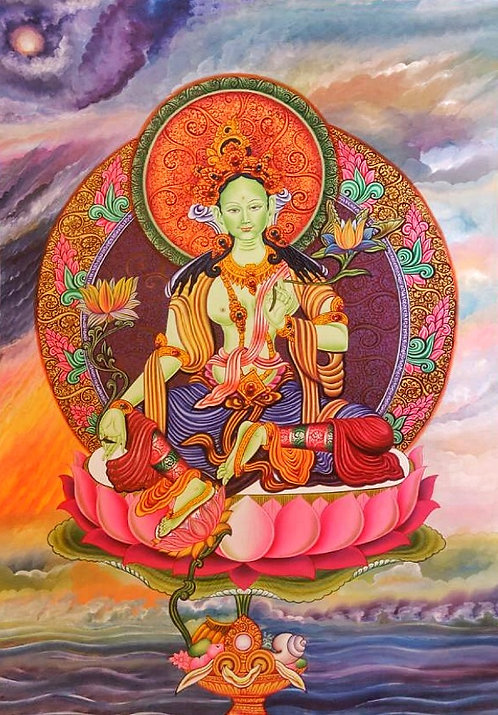 Green Tara Thangka - Newa Art