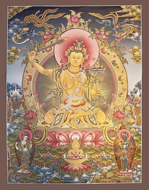 Manjushree Thangka - Lama Painted