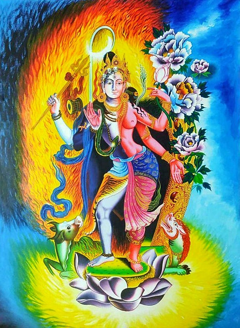 Shiva & Parvati Thangka - Newa Art