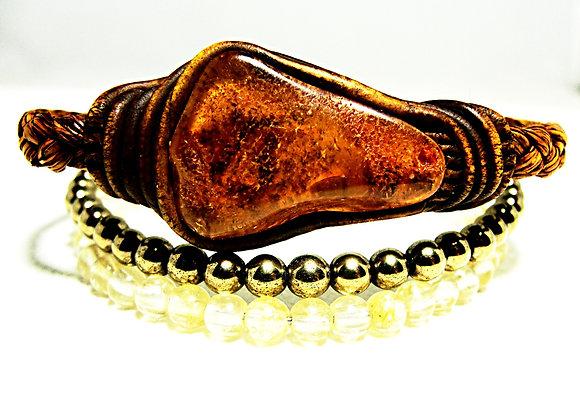 Evolution Bracelet - Stack of Amber,4mm Pyrite,4mm Citrine