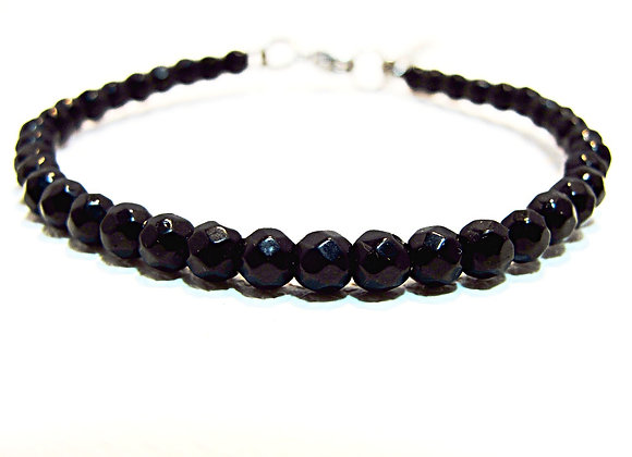 Stacker - 4mm Onyx Faceted Ball