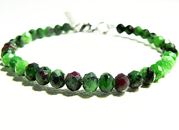 Stacker - 3mm*4mm Ruby In Zoisite faceted