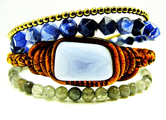 Evolution Bracelet - Blue Lace Agate ,4mm Labradorite,2mm pyrite,6mm sodalite