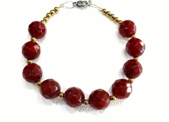 Stacker -10mm Carnelian Agate And 3mm gold hematite