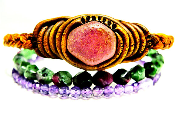 Evolution Bracelet - Stack Of Ruby,6mm Ruby In Zoisite,3mm Amethyst