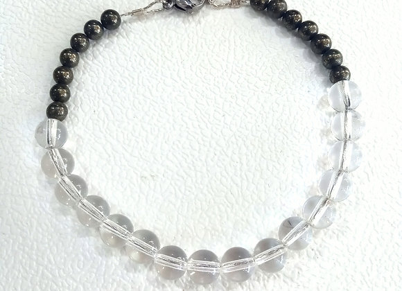 Stacker - 6mm Quartz And 4mm Pyrite ball