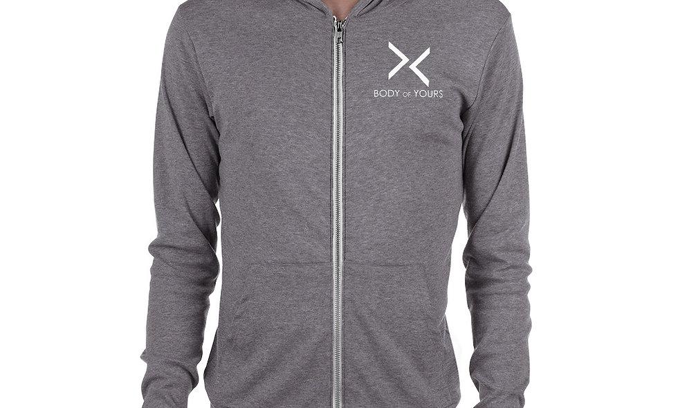 Tan Unisex zip hoodie