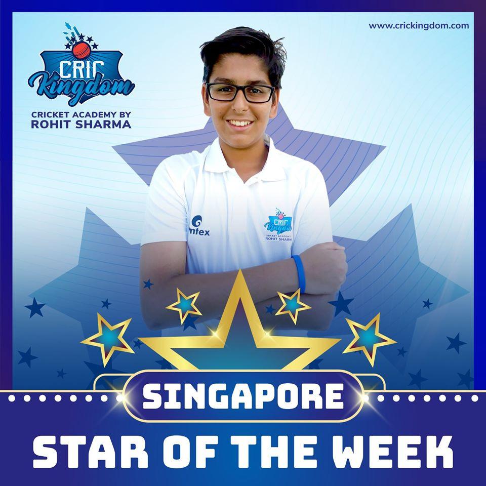 Rohit Sharma Cricket academy Singapore Star of the week