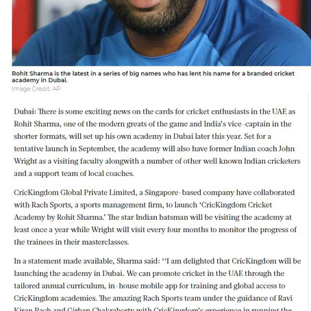 Rohit Sharma to launch own academy in Dubai in September