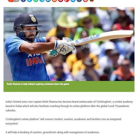 Rohit becomes Dubai-based coaching academy's brand ambassador article  Khaleej Times