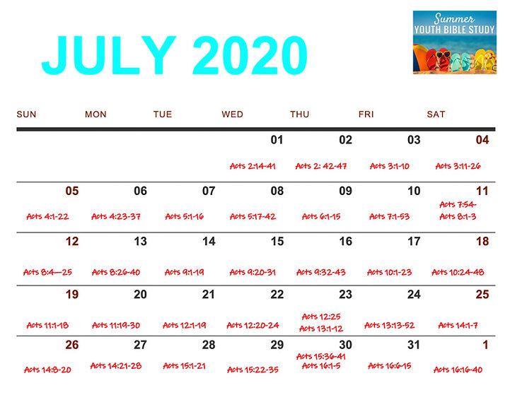 July 2020 Daily Calendar Readings