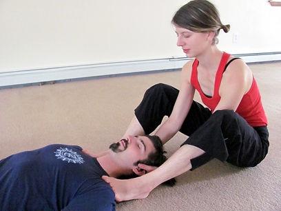 yoga teacher training shoulder adjustment