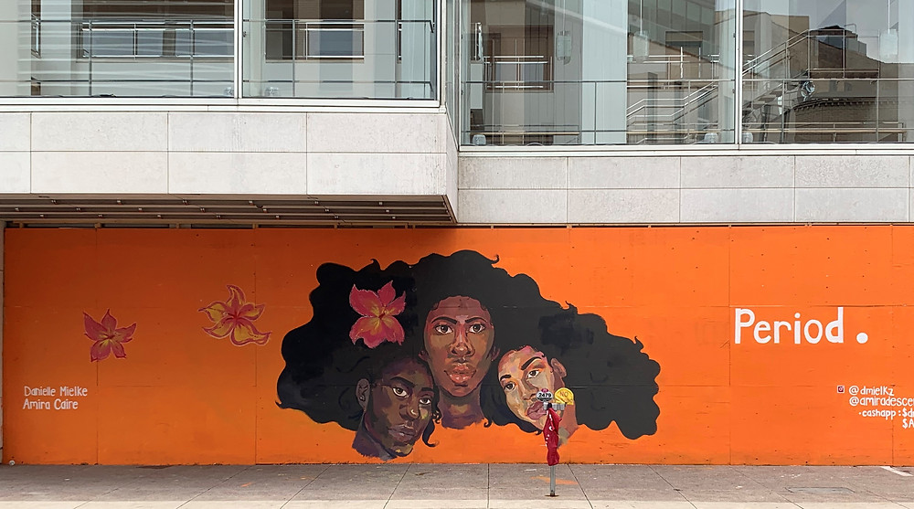 Black Sisterhood Mural at Overture Center for the Arts created by Danielle Mielke and Amira Caire