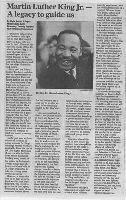 Martin Luther King Jr.-- A legacy to guide us