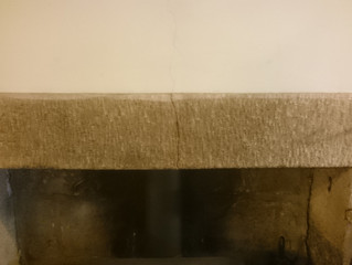 A repair to a crack in a mantle.