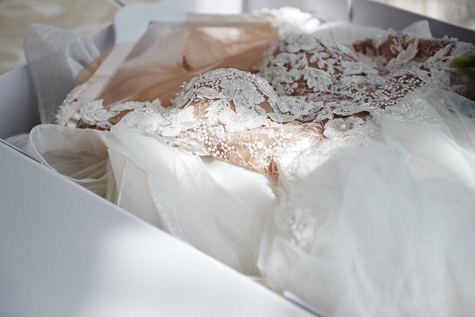 Beautiful luxury wedding dress in white