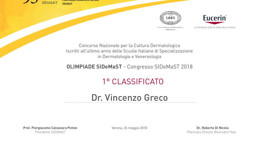 Primo Classificato 1° Concorso Nazionale per la Cultura Dermatologica