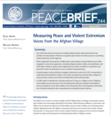 Measuring Peace and Violent Extremism Voices from the Afghan Village