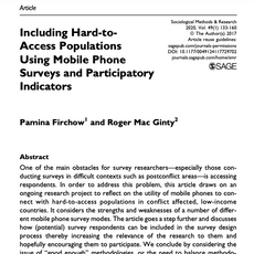 Including Hard-to-Access Populations Using Mobile Phone Surveys and Participatory Indicators