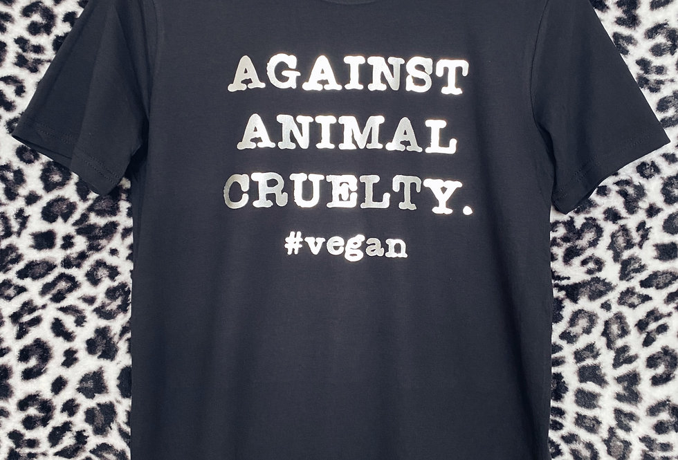 AGAINST ANIMAL CRUELTY. UNISEX t-shirt printed in silver foil