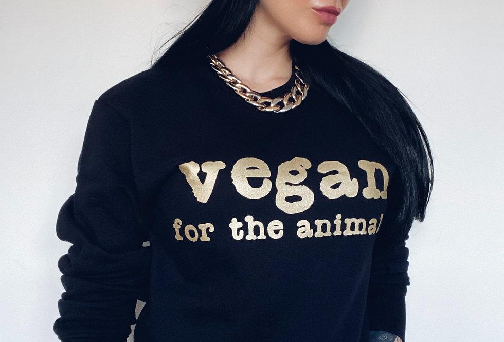 vegan for the animals. UNISEX Sweatshirt in Metallic Champagne Gold Ink