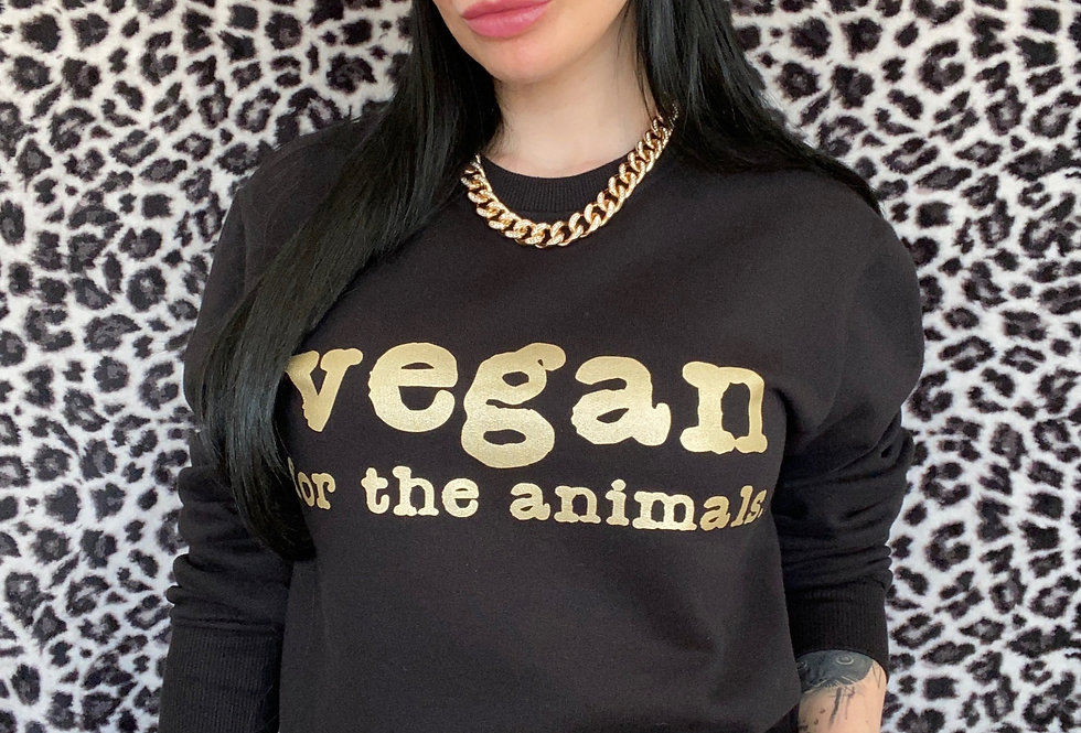 vegan for the animals. UNISEX Sweatshirt in Metallic Champagne Gold Ink