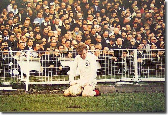 On his knees after the disappointment of the 1970 FA Cup final draw against Chelsea, Billy Bremner w