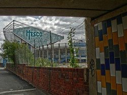 First view of Elland Road from under the subway, coming from Lowfields Road.