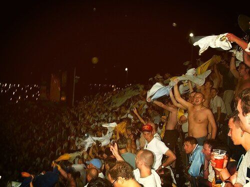 Leeds United fans at Real Madrid