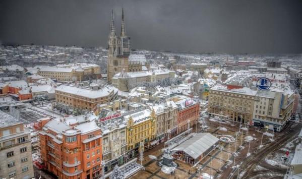 main square in winter