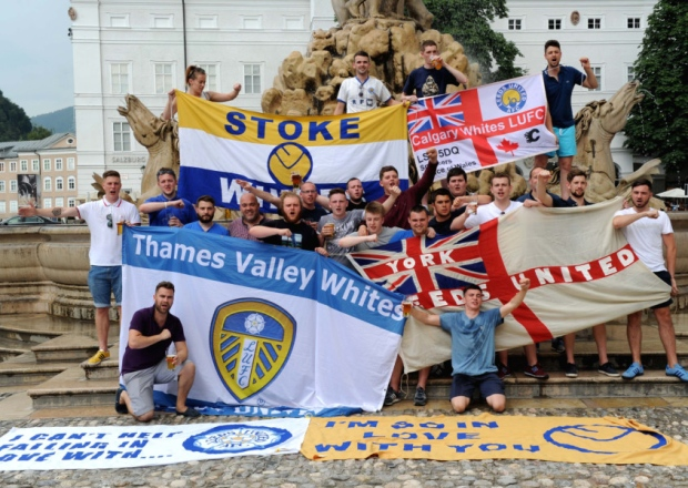 Leeds United fans gather in the centre of Salzburg.