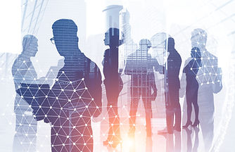 Diverse manager team members silhouettes over modern cityscape background with double expo...age.jpg