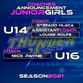 2021 U14 and U16 Girls Coaches Announced