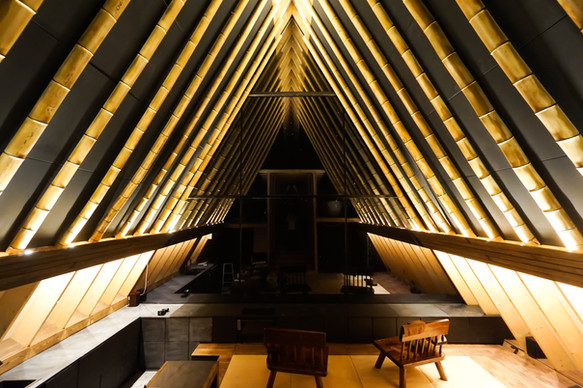 Bamboo A-frame のライトアップ