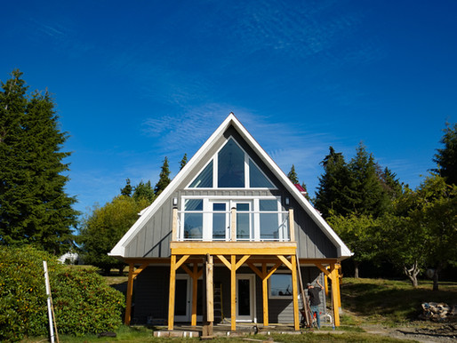 White A-frame house on Haida Gwaii
