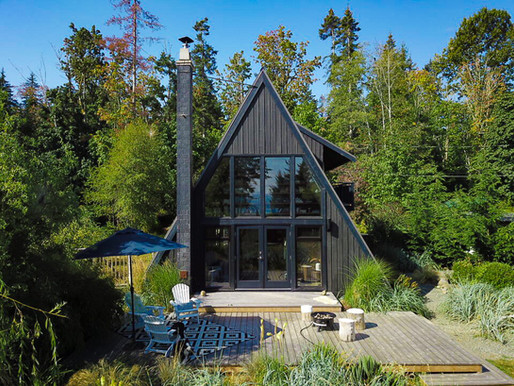 Black-stone A-frame house