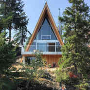 Modern style A-frame in Whistler. The details very cool!