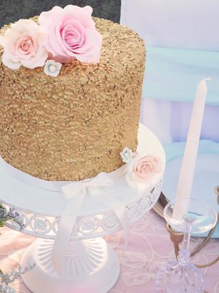 Gold Sequin Wedding Cake