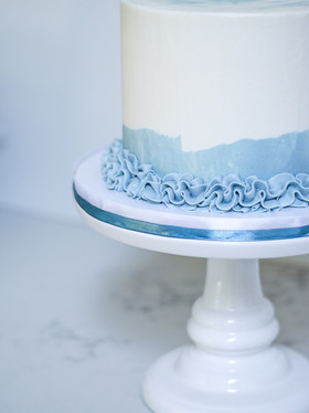 Simple Blue and White Buttercream Cake